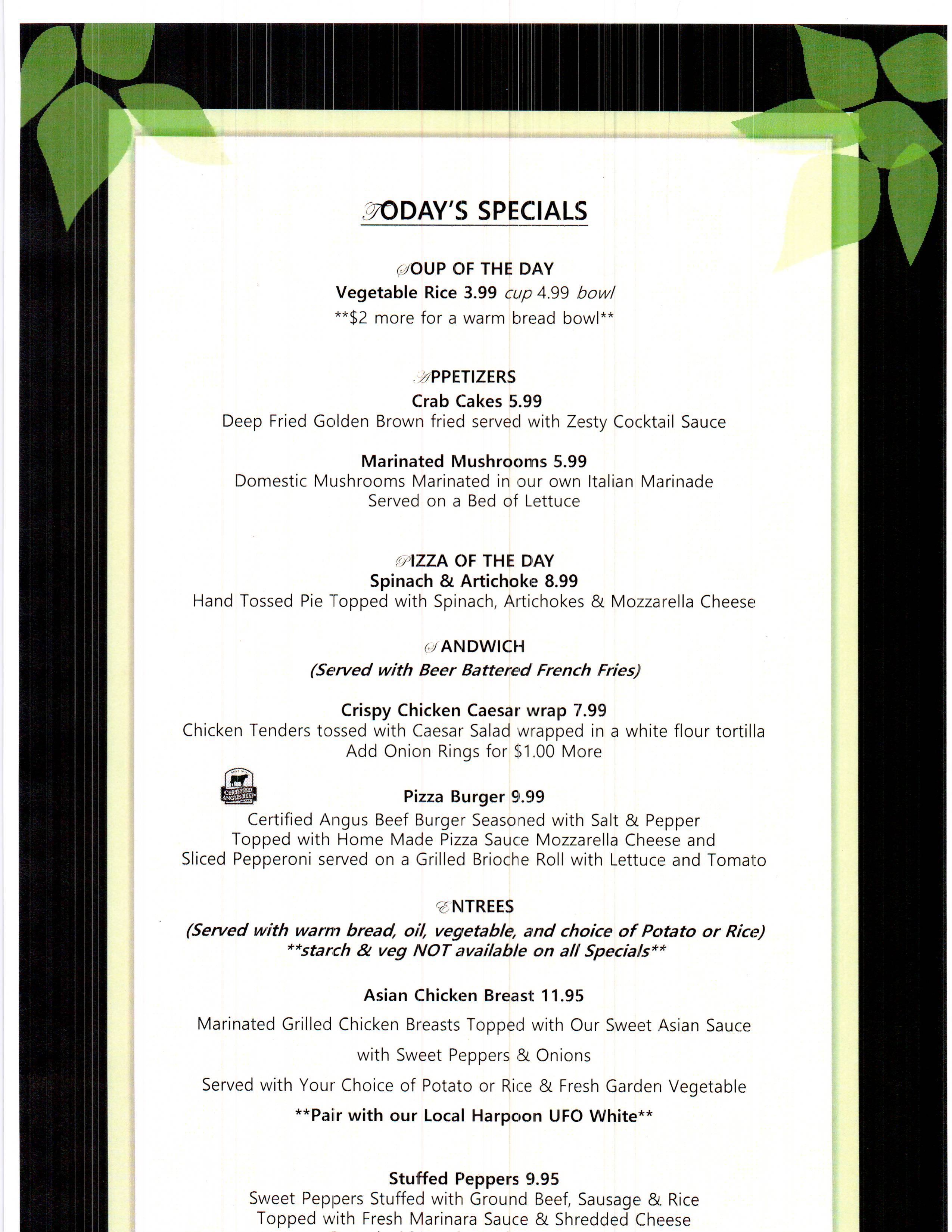 Weekly Specials - Fireside Inn & Suites - West Lebanon, New Hampshire